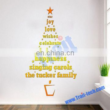 Fancy 58*40cm Golden Christmas Letters Tree Shape Removable Wall Stickers for Window and Room