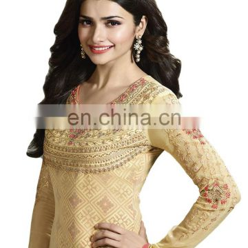 Prachi Desai Yellow & Pink Colour Semi-Stitched Salwar Kameez Dress Material For Party Wear (salwar kameez suits)
