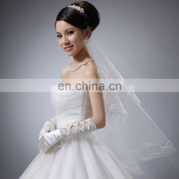 2014 Fashion Elegant Five Bows Full Finger Evening satin wedding Hand Gloves,Wholesale Pearl Beaded Bridal Gloves