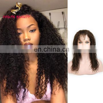 Youth Beauty Hair 2017 top quality Malaysian human virgin hair lace front wig in kinky curly raw unprocessed hair