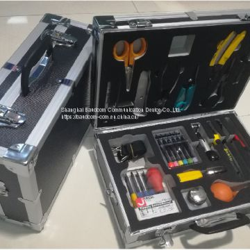 19 pieces outdoor metal carrying case FTTH Fiber Tool Kits