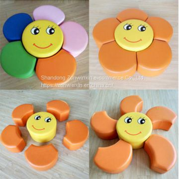 New design kids soft  play sunflower sponge stool educational  toys