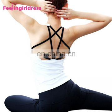 Wholesale White Cross Back Straps Running Vest Top Clothing Organic