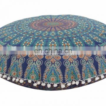 Blue Mandala Tapestry Pouf Cover Indian Round Pouf Cover Cotton Pillow Cases Decorative Ottoman Cover 30'' SSTH54