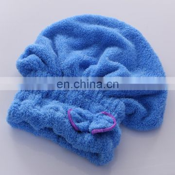 Wholesale Coral Velvet Microfiber Dry Hair Towels with Bowknot