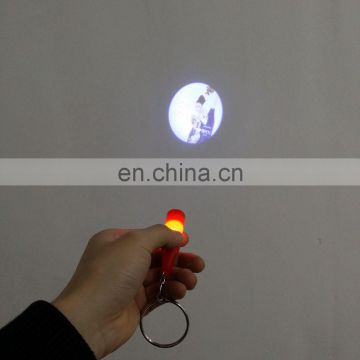 Wholesale price customized shape logo LED projector keychain