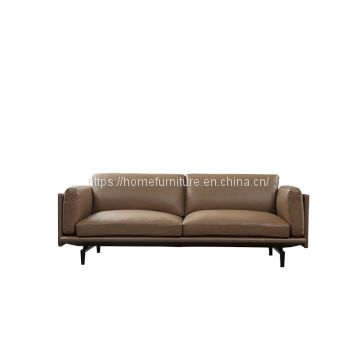 Contemporary Light Brown Italian Two Seats Futon Sofa Set for Living Room