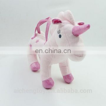 Lovely plush unicorn handbag toys with top quality CE testing