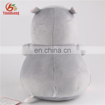 Safety standard cute soft grey plush hippo stuffed toys