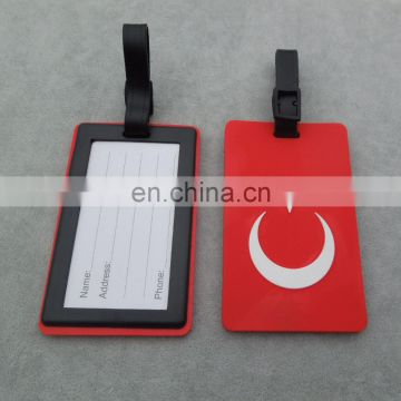 Promotional Turkey Flag Soft PVC Luggage Tag