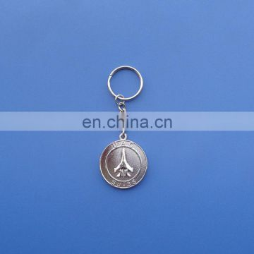 sliver plated personalized make metal key chain with 3D airplane logo