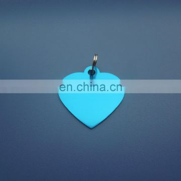 heart shape aluminum anodizing color blue metal aluminum custom logo shape tag with split ring