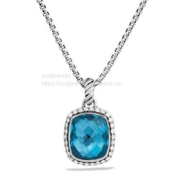 925 Silver Jewelry Noblesse Pendant with Hampton Blue Topaz on Chain(N-051)
