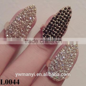 Wholesale False Nail Black/White/Silver Rhinestone Finger Ring New High Quality Nail Jewelry L0044                                                                         Quality Choice