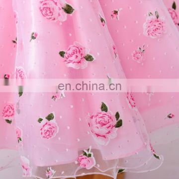 Cute Pink Floral Print Flared Party Dress