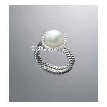 Sterling Silver 925 Designs Inspired Silver DY Cable Pearl Wrap Ring