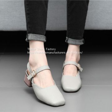 RETRO BREATHABLE SQUARE HEAD WOMEN SANDALS