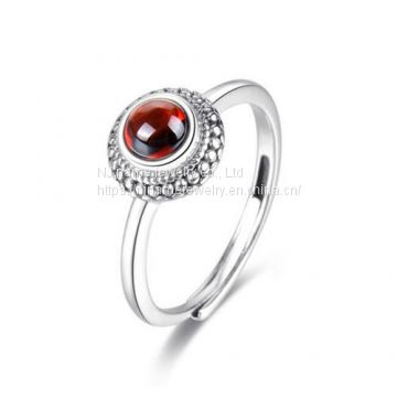 Handmade modern garnet stone jewelry red garnet flower dress ring sterling silver dainty eternity love engagement finger rings