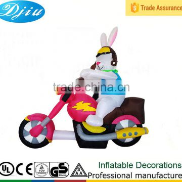 DJ-XT-125 inflatable cheap cartoon rabbit driving motorcycle party decoration party tent decoration