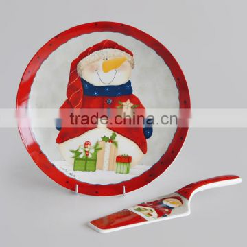 "12"" ceramic cake plate with shovel, porcelain with decal"