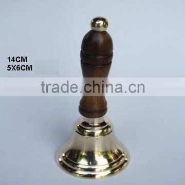 Wooden handle with metal knob on Brass Bell with Mirror polish