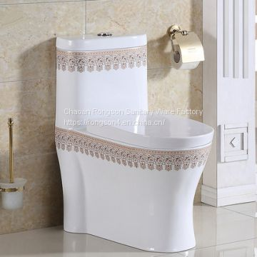 Most Popular india Bathroom floor mouonted dual flush sanitary ware Colored decal One Piece Toilet Ceramic