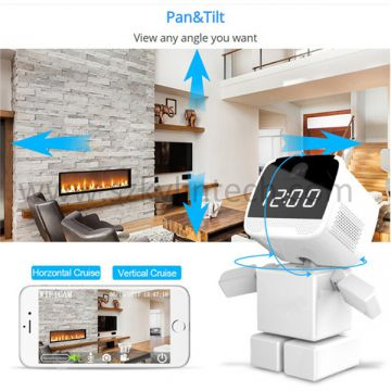 Robot wifi cctv ip wireless camera with alarm clock