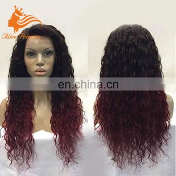 New arrival black purple two tone color loose curly brazilian human hair ombre wig