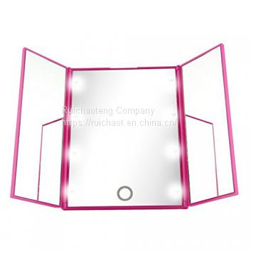 Three Folding Mirror 8 LED Makeup Mirror with Touch Sensor Button