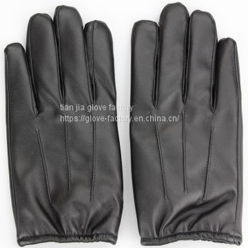 Imitation leather long finger Pu men's touch screen, touch control winter warm gloves