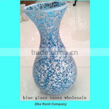 Table Decoration Fluted Shimmer Crackle Mosaic Antique Blue Glass