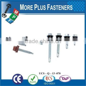 "Taiwan #12-14 x 2"" Hex - Unslotted Hex Washer Head Epoxy #3 410 Stainless Steel Bonded Sealing Washer Self-Drilling Screw"