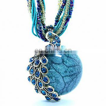 Europe and the United States Retro Bohemia Phoenix Peacock Opal Necklace