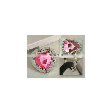 Murano art deco collection Heart shape pink crystal handbag holder
