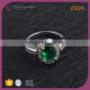 R63417K01 China wholesale jewelry silver plated with big green stone ring designs finger ring for women