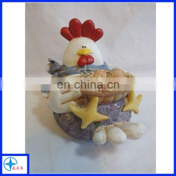 chicken figurine -hen holding egg basket resin