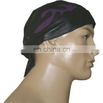 HMB-901D LEATHER SKULL CAP DURAG PURPLE FLAME STYLE BIKER SKULLCAP HATS