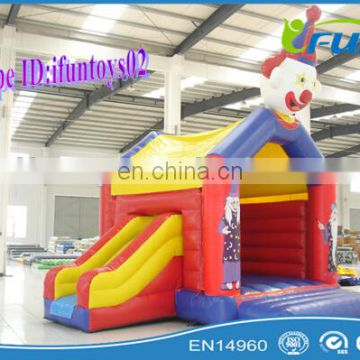 Clown inflatable jumping castle with slide for sale/inflatable jumping bouncer
