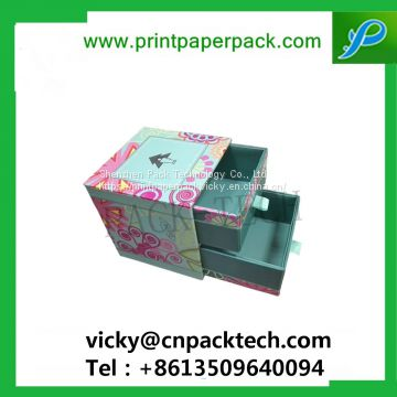 Custom Handmade Sliding Double Drawer Style Box for Cosmetic/Jewelry/Gem/Bijou Recyclable Paperboard Gift Belt Box