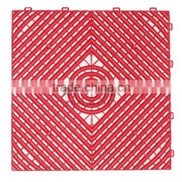 Non slippery holes design PP water leaking colorful plastic bathroom mat