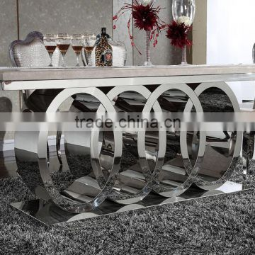 modern luxury polishing stainless steel dining table and chairs set with marble top furniture