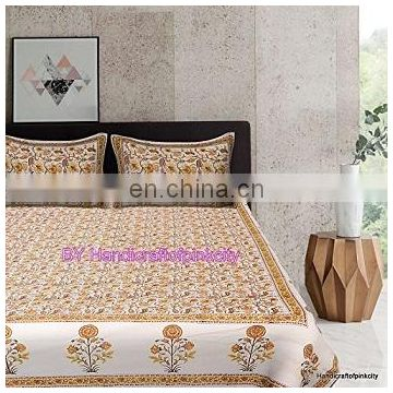Indian Block Print Bedspread Handmade Cotton Decor Bed Sheet Throw