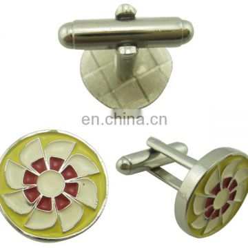 custom zinc alloy plated flower insert wholesale cufflink with boxes