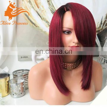 Ombre #1b/99j Silky Straight Human Hair Lace Wigs WIth Side Bangs Brazilian 99j Glueless Full Lace Wig With Baby Hair