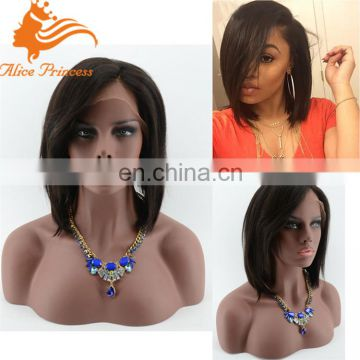 Layered Human Hair Short Bob Lace Front Wigs For Black Women Bob Wig With Side Bangs Full Lace Short Wigs