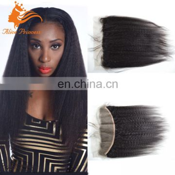 Peruvian Kinky Straight Hair Full Lace Frontal Closure Virgin Human Hair Lace Frontal Free Middle Three Part