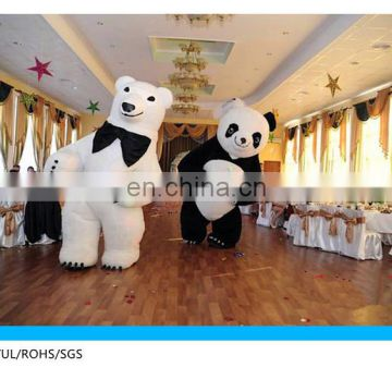 3 meter high panda mascot costume and inflatable polar bear mascot costume for adult wedding party