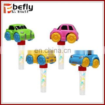 Cheap plastic candy tube toy with pull back car