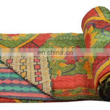 Vintage Kantha Quilt Plaids Gudri Reversible Throw Multi color kantha quilt Bedspread Decor