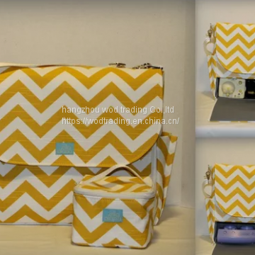 full printed yellow chevron cooler bag with handle